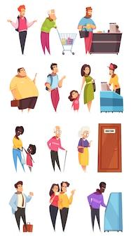 Conjunto de caracteres de pessoas na fila