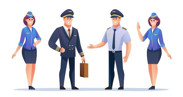 Conjunto de caracteres de piloto e comissário de bordo