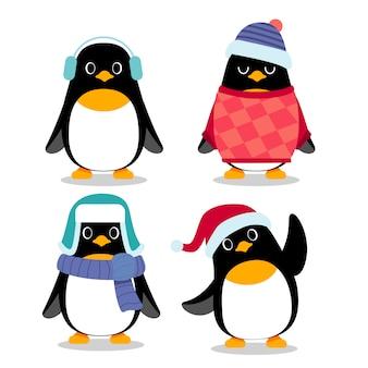 Conjunto de caracteres de pingüim em poses de ação diferentes