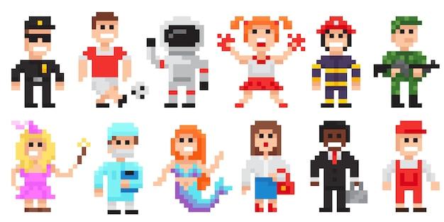 Conjunto de caracteres de pixel art, profissões pixel art pessoas isoladas design