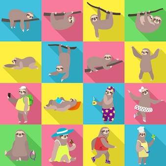 Conjunto de caracteres de preguiça. conjunto plano de vetor de preguiça