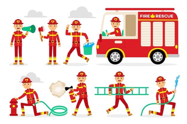 Conjunto de caracteres de profissão de bombeiro