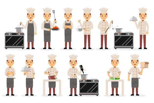 Conjunto de caracteres de profissão de chef