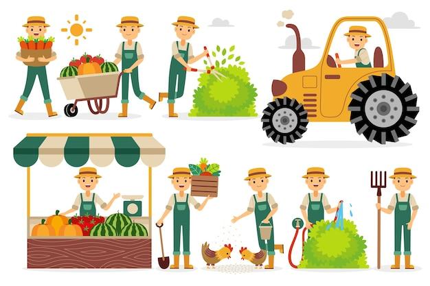 Conjunto de caracteres de profissão de fazendeiro