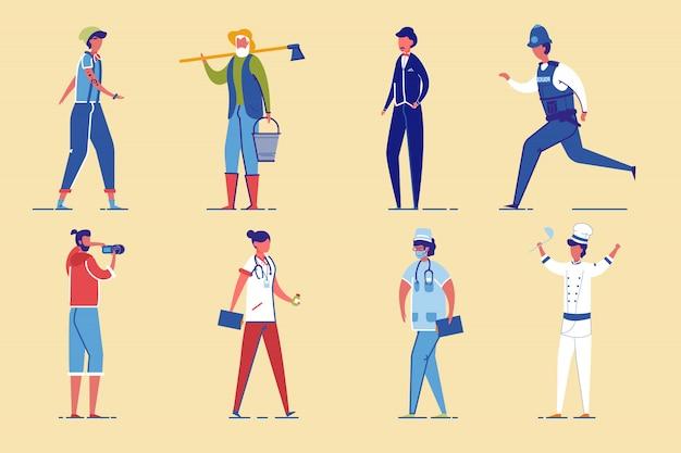 Conjunto de caracteres de profissão, gênero e idade diversos.