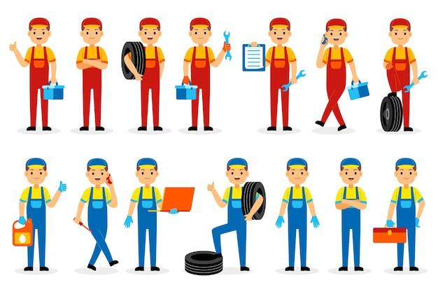 Conjunto de caracteres de profissão mecânica
