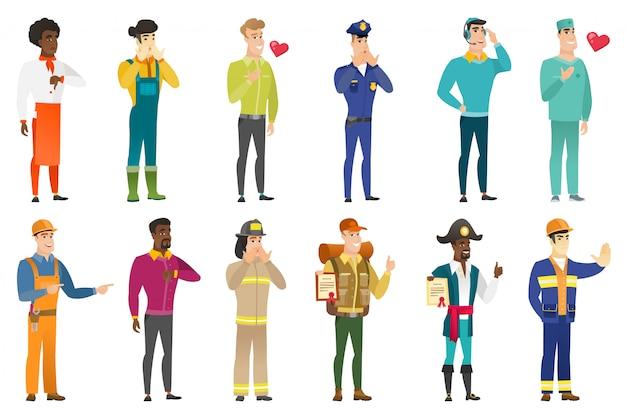 Conjunto de caracteres de profissões.