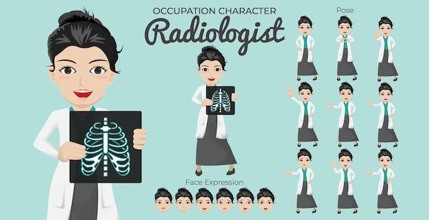 Conjunto de caracteres de radiologista feminina com variedade de expressões faciais e posturas