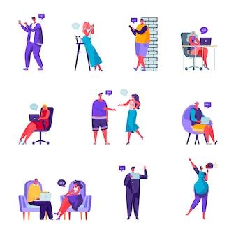 Conjunto de caracteres de rede social de pessoas planas