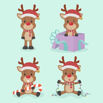 Conjunto de caracteres de rena de natal fofa