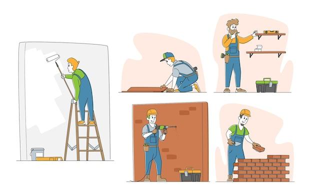 Conjunto de caracteres de reparos domésticos