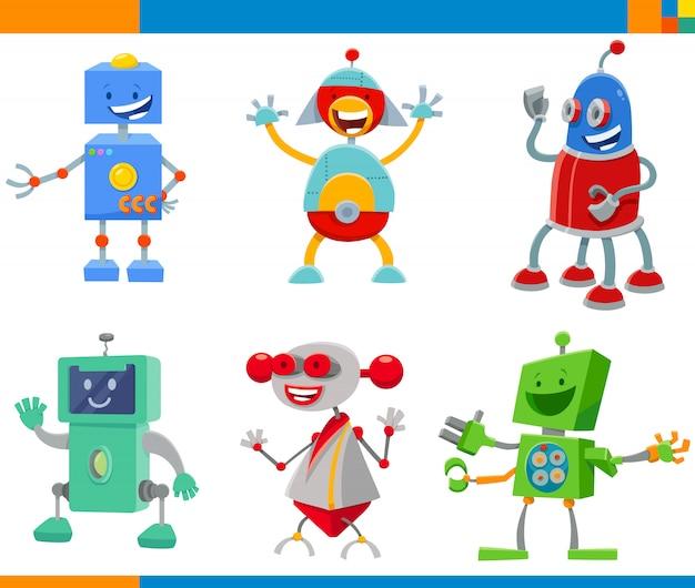 Conjunto de caracteres de robôs e dróides dos desenhos animados