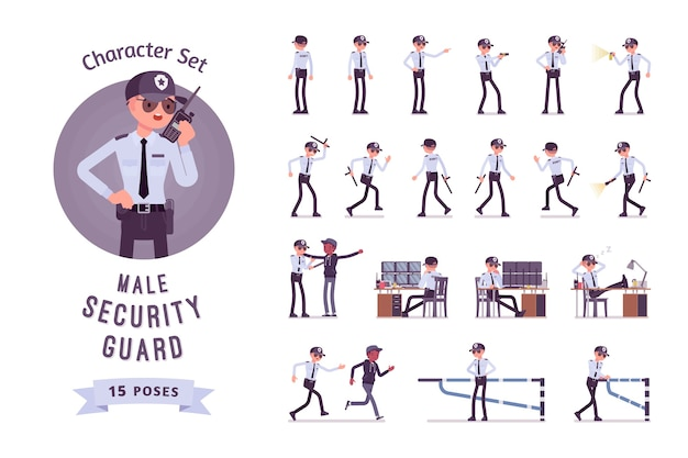 Conjunto de caracteres de segurança masculino