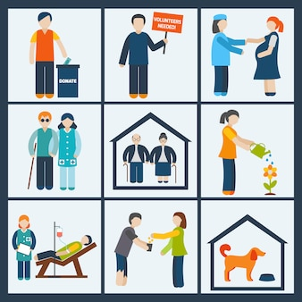 Conjunto de caracteres de serviços sociais