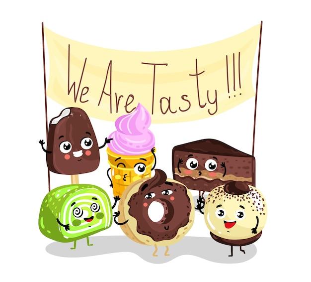 Conjunto de caracteres de sobremesa saborosa doce engraçado
