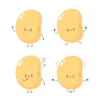 Conjunto de caracteres de soja feliz bonito conjunto de caracteres.