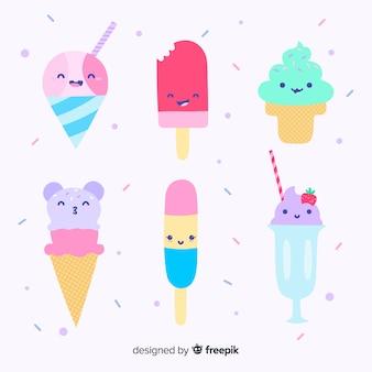 Conjunto de caracteres de sorvete de kawaii mão desenhada