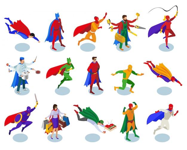 Conjunto de caracteres de super-heróis
