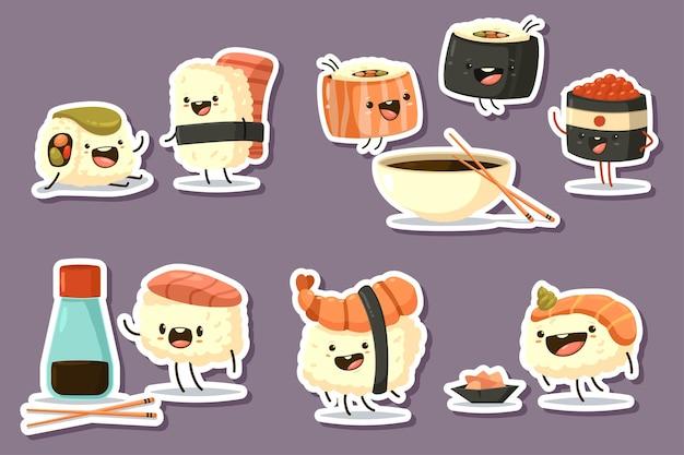 Conjunto de caracteres de sushi fofo