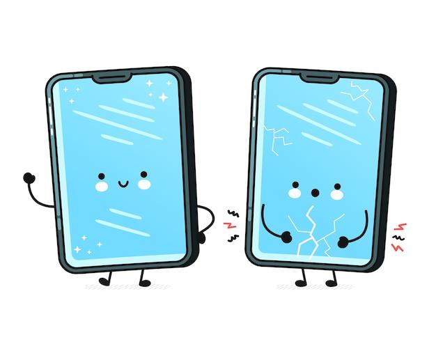 Conjunto de caracteres de telefone celular isolado no branco