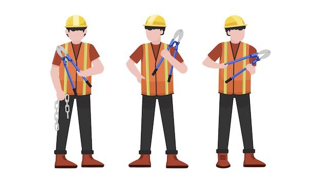 Conjunto de caracteres de trabalhador de construção jovem