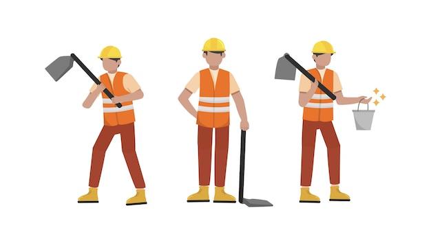 Conjunto de caracteres de trabalhador de construção