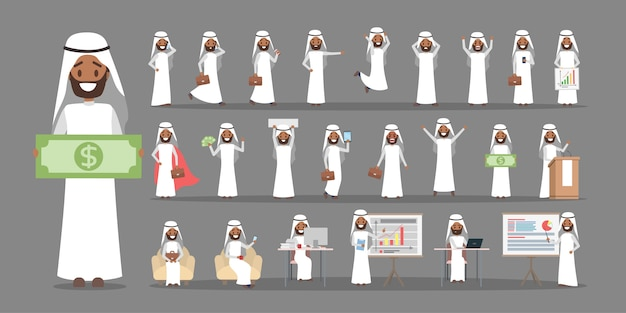 Conjunto de caracteres de trabalhador de empresário ou escritório árabe em traje nacional com várias poses