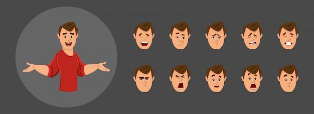 Conjunto de caracteres de trabalhador de escritório jovem com expressão facial diferente.