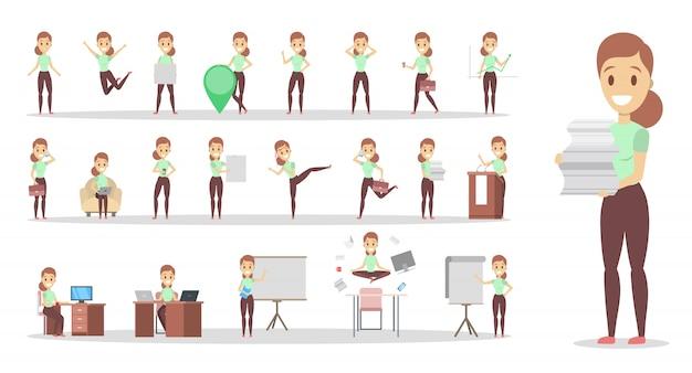 Conjunto de caracteres de trabalhador de mulher ou escritório de negócios com várias poses, emoções de rosto e gestos. falando ao telefone, sentado e fazendo a apresentação. ilustração em vetor plana isolada