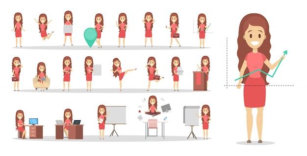 Conjunto de caracteres de trabalhador de mulher ou escritório de negócios em vestido rosa com várias poses, emoções de rosto e gestos.