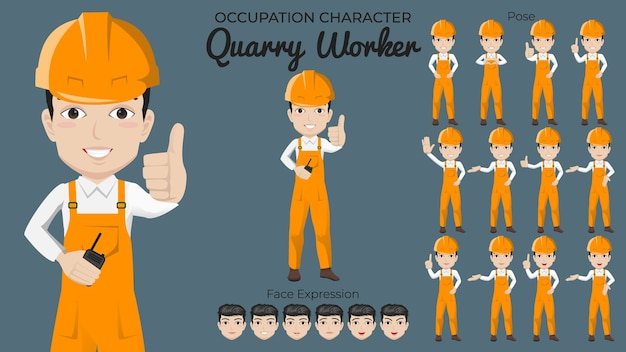 Conjunto de caracteres de trabalhador de pedreira masculino com várias expressões de pose e rosto