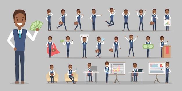 Conjunto de caracteres de trabalhador empresário ou escritório de terno com várias poses