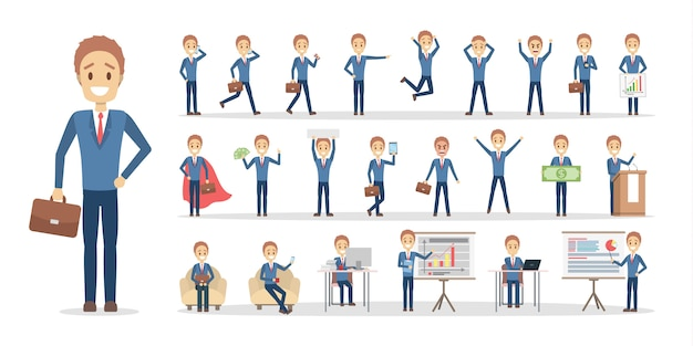 Conjunto de caracteres de trabalhador empresário ou escritório em várias poses, enfrentar emoções e gestos.