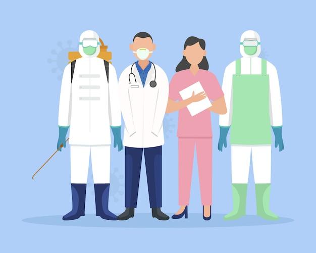 Conjunto de caracteres de trabalhador médico