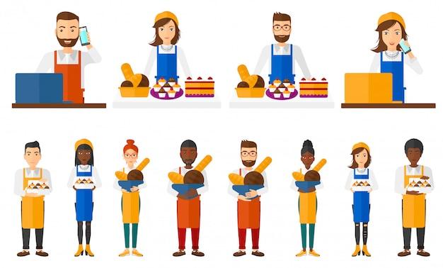 Conjunto de caracteres de trabalhadores de padaria.
