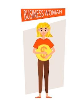 Conjunto de caracteres de trabalho de empresária. a garota aponta para o ícone do dólar. ilustração.
