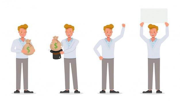 Conjunto de caracteres de trabalho de empresário