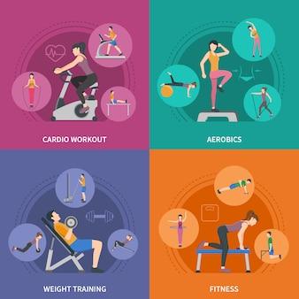 Conjunto de caracteres de treinamento de ginásio de fitness