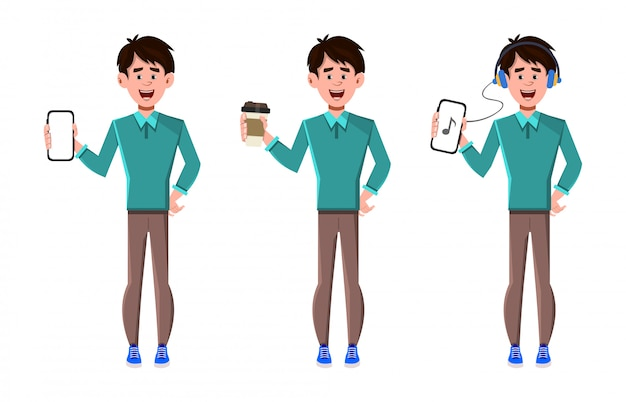 Conjunto de caracteres de três poses com telefone e xícara de café
