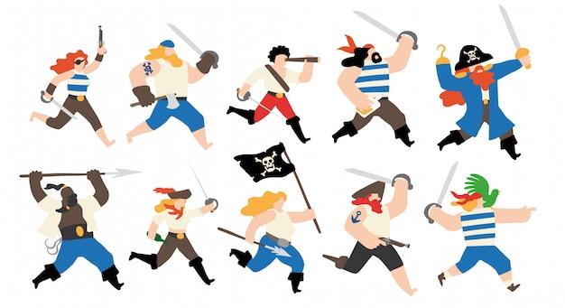 Conjunto de caracteres de tripulação pirata