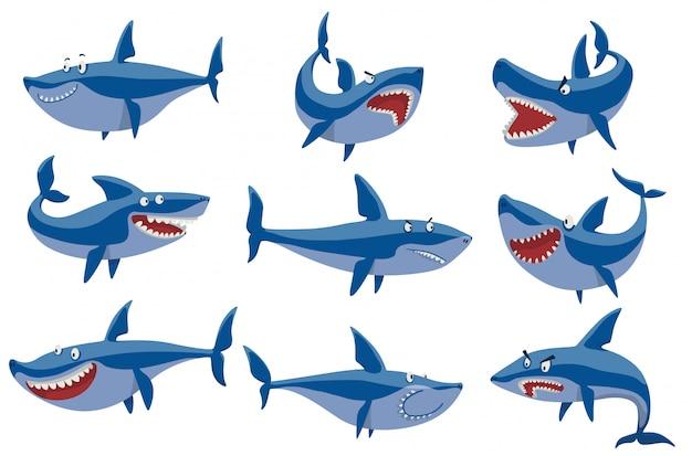 Conjunto de caracteres de tubarão vector.