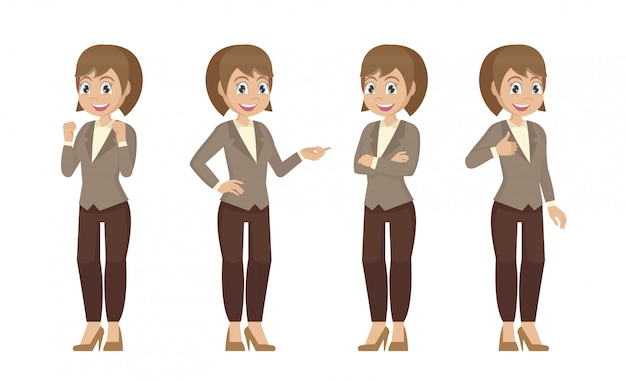Conjunto de caracteres de um funcionário do escritório feminino. secretário em poses diferentes.