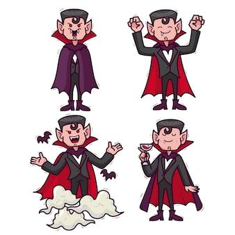Conjunto de caracteres de vampiro de design desenhado à mão