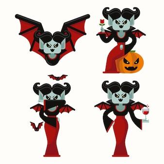 Conjunto de caracteres de vampiro de design plano