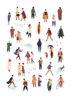 Conjunto de caracteres de vetor plana de pessoas em vestuário de outono