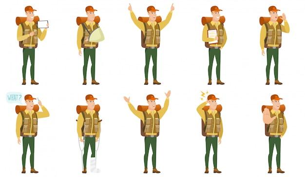 Conjunto de caracteres de viajante.
