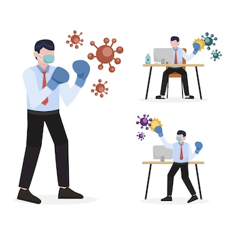 Conjunto de caracteres de working from home do empresário