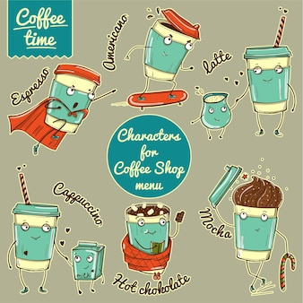 Conjunto de caracteres de xícara de café em cores em estilo doodle