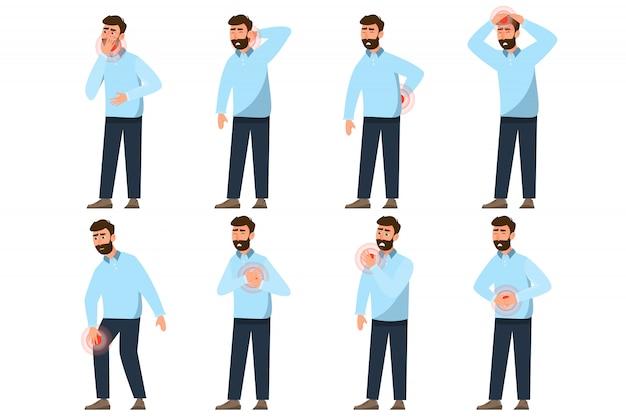Conjunto de caracteres diferentes de pessoas de dor. ilustração