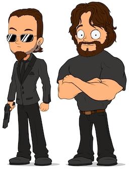 Conjunto de caracteres do agente secreto forte dos desenhos animados
